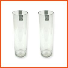 12 X Cylinder Clear Glass Vases Large 10x40cm Wedding Flowers Roses Arrangements