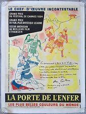Affiche LA PORTE DE L'ENFER Jigokumon TEINOSUKE KINUGASA Cocteau ENTOILEE 60x80