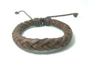 New Gift Real Leather Bracelet Men Handmade Vintage Color Brown Free Shipping