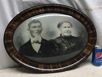Vtg Victorian Oval Tiger Stripe Frame Convex Glass Sepia Family Portrait Couple