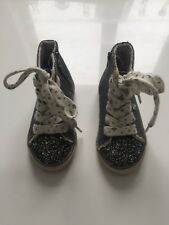 VERY PRETTY BABY GIRL NEXT SHOES CANVAS BOOTS WITH GLITTER SIZE 5  GREY EX COND