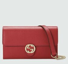 GUCCI Red Leather INTERLOCKING G crossbody CHAIN bag wallet NWT Authentc GG