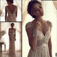 2019 Vintage Lace Wedding Dress White Ivory Bridal Gown Custom 2-4-6-8-10-12-14+