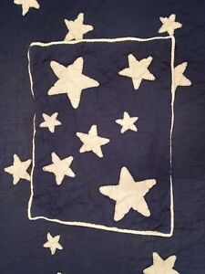 Pottery Barn Kids Twin Navy Star QUILT Set With Standard Sham Farm House