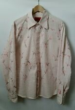 MONDO Fitted Men Clubbing Shirt Embroidered Pink Gray White Stripes size XL