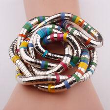 Schlangen Kette biegsam flexibel silber -farben Metall snake necklace bunt NEU