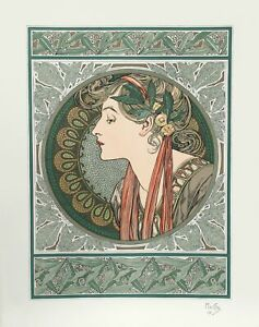 Alphonse Mucha, Lady in Green, Lithograph Poster