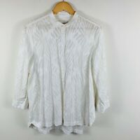 Sportscraft Signature Womens Top Blouse Size 14 White Button Up Long Sleeve