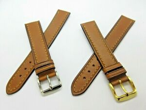 Quality Brown  Leather 18mm Watch Strap Gold or Silver Tone Buckle