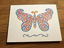 """KITTY'S NOTE CARDS - Set of 10 + Envelopes - """"Crocheted Butterfly"""""""