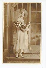 "Pretty Girl w Flowers Dress & Hat RPPC Antique ""Nicoletti Studio"" Photo"