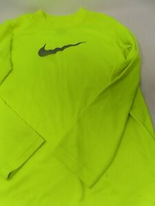 NIKE Size S Youth Long Sleeved T shirt Dri-Fit Blue Swish Bright Yellow