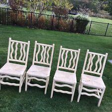 Original Kreiss Wood Wicker Designer Heavy Chairs Kitchen Dining Rare