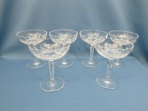 """(6) crystal cocktail/cordial/aperitif glasses 3 7/8"""" champagne coupe style - 2oz"""