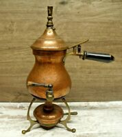 Antique Copper Tea Kettle Pot with Whistle, Stand & Warmer, Vintage!Germany