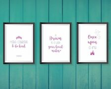 Disney prints - cinderella bedroom A4  (set of 3) bedroom decor pink and purple