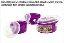 Set of 3 pieces of microwave dish plastic color purple. Bowl with lid 1.8-liter