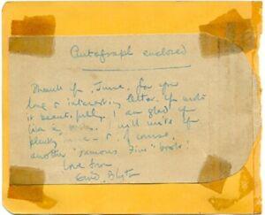Enid Blyton handwritten note signed autograph 1950s English author Famous Five