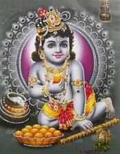 "Laddoo Gopal Bal Krishna Hindu God POSTER with glitter 9"" X 11"" (441)"