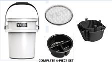 Yeti LoadOut Bucket w/ Lid Tray & Tool Holder Set Tailgate Picnic Camping White