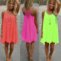 Women Summer Beach Chiffon Mini Sundress Casual Sleeveless Swing Short Dress
