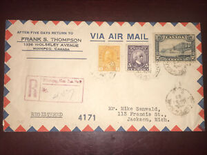 #105,144 & 156 on Nice 1933 registered cover, Frank S. Thompson Win. To USA