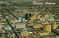Chrome Postcard AZ I410 Downtown Phoenix Aerial Bird Eye View Skyscrapers Petley