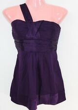 Bebe Silk Blend Purlple One Strap Ruched Halter Top Baby Doll ~ Size Med EUC