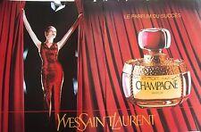 publicité de presse - parfum  CHAMPAGNE  YVES SAINT LAURENT    en 1993REF. 34210