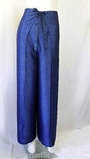 Trousers Thai Silk Palazzo Wrap Flared Leg Fisherman Ladies Womens Blue Pants