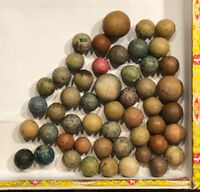 Mixed Color Collection Of 50 Civil War Era Clay Marbles (Shooters)