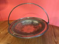 Antique William Briggs Silver Plated EPNS Pedestal Fruit Basket Bowl Round 1900s
