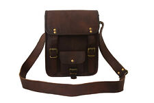 Vintage Leather Messenger Bag Crossbody Satchel iPad/Tab Handbag Sling Bags 11""