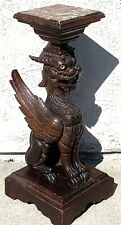 ANTIQUE 19TH CENTURY WOOD CARVED WINGED LION / GRIFFIN MARBLE TOP PEDESTAL
