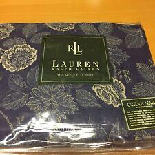 Rare Nip Ralph Lauren Blue Americana Floral Queen Flat Sheet French Country