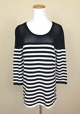 NWT Romeo and Juliet Couture Womens M Black White Striped Mesh Sweater