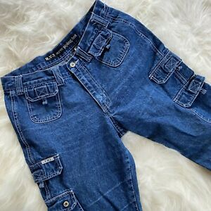 Vintage 90s Cargo Jeans 31 x 30 Hi Rise Straight Leg RVT Serve Piping Hot