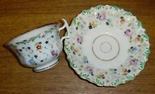 Antique Gotha Germany Floral Porcelain Cup & Saucer