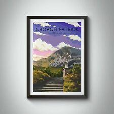 More details for croagh patrick ireland travel poster - framed - vintage - bucket list prints
