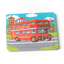 20 pieces Wooden Puzzle Jigsaw Toddler Kids Baby Child Educational Toy Red Bus