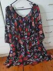 CITY CHIC Off Shoulder Floral Black Wrap Skirt Style Dress Plus Size S 16 18