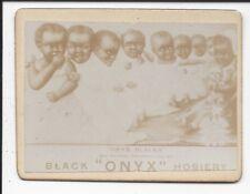 "Photo Trade Card, Black Onyx Hosiery, ""Onyx Blacks"" (8 Black Children) c1900"