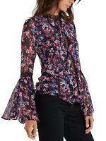 Misa Los Angeles Women's Divya Bell Sleeve Lace Insert Floral Top Blouse Size M