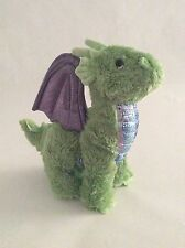 "MELISSA & DOUG green purple ZEPHYR THE DRAGON W/ WIRE WINGS 10"" plush"