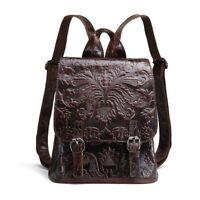 Women Genuine Real Cow Leather Backpack Punk Travel Bag Embossed Handbag Fashion