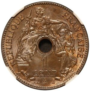 1903-A French Indo-China Bronze Coin - NGC MS 63 BN - KM# 8