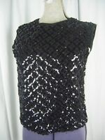 STYLEBEST Vtg 60s Black Eyelet Sequin Rayon Knit Top -Bust 36/S