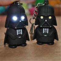 Black Star Wars Darth Vader Figurine LED Flashlight Torch Sound KeyChain Keyring