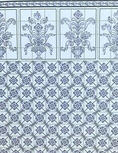 Dollhouse Miniature Leslie Blue  Wallpaper / Kitchen  Tile