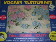 VINTAGE VOGART TEXTILPRINTS #89-CUTE FLORAL BASKET HOT IRON TRANSFER PATTERN  FF